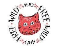 L'illustration mignonne rouge de vecteur de croquis de chat, chat de conception d'impression, enfants impriment sur la fille de T images libres de droits