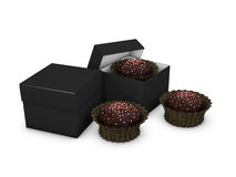 L'illustration Open et ferment la boîte de papier ou les gâteaux sur le fond blanc d'isolement Images stock