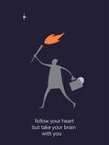 L'illustration plate avec le message suivent votre coeur mais prennent le cerveau avec vous Coeur et cerveau Images stock