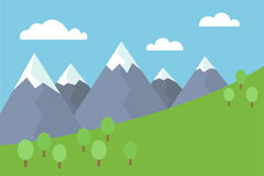 L'illustration plate de vecteur coloré de bande dessinée du paysage de montagne avec la neige a couvert les crêtes d'arbres et le Images stock
