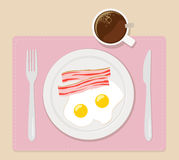 L'illustration plate de vecteur de petit déjeuner eggs le café de lard Photos stock