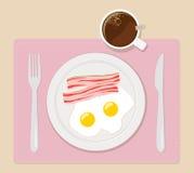 L'illustration plate de vecteur de petit déjeuner eggs le café de lard photos stock