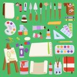 L'illustration plate réglée d'icône de palette d'outils d'artiste de vecteur de peinture détaille la toile d'art créative d'équip Image stock