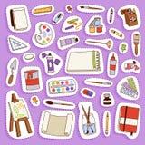L'illustration plate réglée d'icône de palette d'outils d'artiste de vecteur de peinture détaille la toile d'art créative d'équip Photographie stock libre de droits