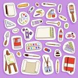 L'illustration plate réglée d'icône de palette d'outils d'artiste de vecteur de peinture détaille la toile d'art créative d'équip Images libres de droits