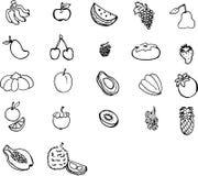 L'illustration porte des fruits 22 schéma noir et blanc Photos libres de droits