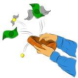 L'illustration pour Bankrupt a perdu l'argent, homme ouvrant son portefeuille illustration stock