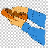 L'illustration pour Bankrupt a perdu l'argent, homme ouvrant son portefeuille au fond transparent d'effet illustration libre de droits