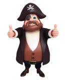 L'illustration rendue du pirate avec des pouces posent  Photographie stock