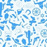 L'illustration sans couture sur le thème de l'ouest sauvage, icônes de découpe, bleu silhouette des icônes sur un point de polka  Illustration de Vecteur