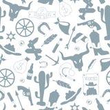 L'illustration sans couture sur le thème de l'ouest sauvage, icônes de découpe, gris silhouette des icônes sur un fond blanc Illustration Libre de Droits