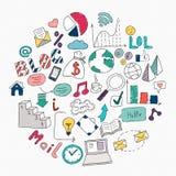 L'illustration tirée par la main de vecteur du media social signent et le symbole d Images stock
