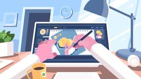 L'illustratore del progettista attinge il computer royalty illustrazione gratis