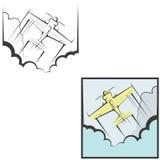 L'illustrazione è composta di due immagini sotto forma di aeroplano illustrazione di stock
