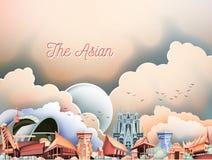 L'illustrazione asiatica dell'annata della cultura Immagine Stock