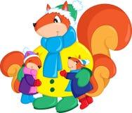 L'illustrazione colorata adorabile di uno scoiattolo della madre e dei suoi due bambini, vestita per l'inverno, perfeziona per il illustrazione di stock
