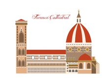L'illustrazione con bella Florence Cathedral Illustrazione di Stock