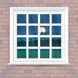L'illustrazione con la finestra nello stile realistico su un muro di mattoni e la notte abbelliscono fuori della finestra royalty illustrazione gratis