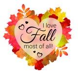L'illustrazione con le foglie di autunno, cuore ha offuscato la forma ed il testo illustrazione vettoriale