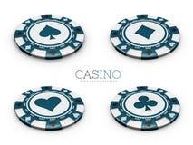 l'illustrazione 3d del chip del casinò con la carta è adatto al fondo bianco isolato Fotografia Stock Libera da Diritti