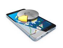 l'illustrazione 3d del telefono con la torta del grafico ed il mercato azionario si carbonizzano sullo schermo Concetto online di royalty illustrazione gratis