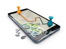 l'illustrazione 3d dell'applicazione e della navigazione di GPS di navigazione firma, bianco Fotografia Stock