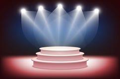 l'illustrazione 3d della fase fotorealistica del podio con la fase blu accende il fondo Usato per la disposizione del prodotto, p Fotografie Stock