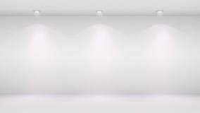 l'illustrazione 3D della parete in bianco si è accesa dai riflettori Fotografia Stock