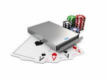 l'illustrazione 3d della scatola di carta del gioco, chip e carte, ha isolato il bianco Immagini Stock