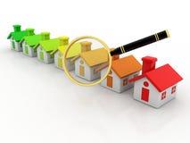 l'illustrazione 3d delle case ed ingrandice il vetro sopra fondo bianco Fotografia Stock