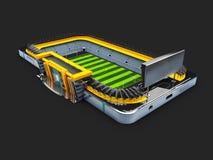 l'illustrazione 3d dello Smart Phone come campo di football americano, guarda online, scommettere il concetto online Fotografia Stock