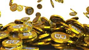 l'illustrazione 3D di bitcoin conia cadere su un fondo bianco Fotografia Stock