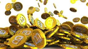 l'illustrazione 3D di bitcoin conia cadere su un fondo bianco Fotografie Stock Libere da Diritti