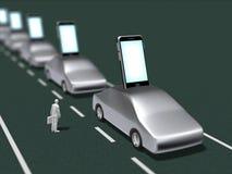 l'illustrazione 3D di uno Smart Phone ha integrato con un'automobile Fotografie Stock Libere da Diritti