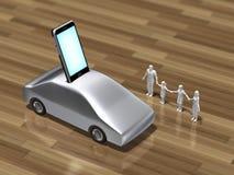 l'illustrazione 3D di uno Smart Phone ha integrato con un'automobile Immagine Stock Libera da Diritti