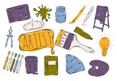 L'illustrazione dei bambini Colourful con una matita La raccolta delle icone disegnate a mano lineari Icone gli strumenti dell'ar illustrazione di stock
