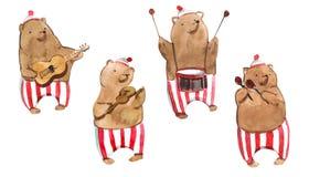 L'illustrazione dei bambini di Watrcolor dell'orso sveglio del circo isolato su fondo bianco illustrazione vettoriale