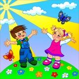 L'illustrazione dei bambini felici del fumetto Immagine Stock Libera da Diritti