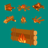 l'illustrazione dei ceppi del fuoco di accampamento che bruciano il falò e la legna da ardere impilano il vettore Immagini Stock Libere da Diritti