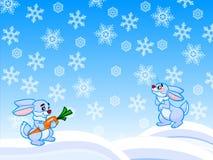 L'illustrazione del fumetto di inverno di due conigli e fiocchi di neve Immagini Stock Libere da Diritti