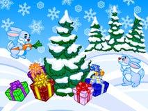 L'illustrazione del fumetto di inverno di un albero di Natale e di un rabb due Immagine Stock