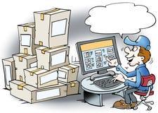 L'illustrazione del fumetto di un meccanico là ordina le merci Fotografia Stock Libera da Diritti
