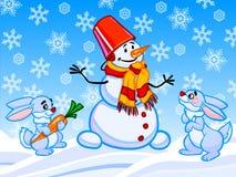 L'illustrazione del fumetto di un pupazzo di neve e di due conigli Fotografia Stock