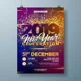 L'illustrazione del modello del manifesto della celebrazione del partito da 2019 nuovi anni con oro ha brillato numero e coriando illustrazione vettoriale
