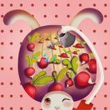 L'illustrazione del mondo dell'immaginazione dei bambini: Che cosa è nella testa del coniglio Fotografia Stock