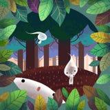 L'illustrazione del mondo dell'immaginazione dei bambini: Forest Spirit Immagini Stock