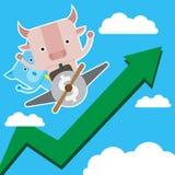 L'illustrazione del simbolo del maiale e del toro del mercato azionario tende Immagini Stock