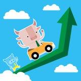 L'illustrazione del simbolo del maiale e del toro del mercato azionario tende Fotografie Stock