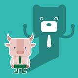 L'illustrazione del simbolo del ribassista e del toro del mercato azionario tende Immagine Stock