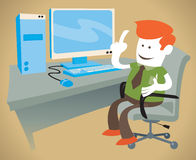Il tipo corporativo lavora al suo computer Fotografie Stock Libere da Diritti